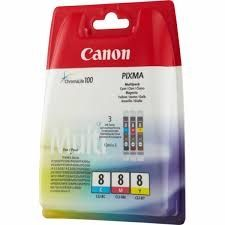 CANON Ink original Ink Cart. CLI-8CO Blister MultiPack (C/M/Y) (0621B026) (0621B029) (0621B036)  iP3300/iP4200/iP4300/ iP4500/iP5200R/iP5300/iP6600 /iX4000/iX5000/iX5200R/iX6700D /MP510/MP530/MP600R/MP810 /MP830/MX700/MX850/Pro9000 Ink Cart. CLI-8CO Blist