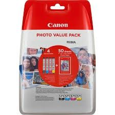 CANON Ink original Ink Cart. CLI-571 Photo Value Pack (c/m/Y/bk) +4x6 PP-201 50 SH (0386C006)  Pixma TS5051/5053/6050/ 6051/6052/8051/8052/9050/9055 Ink Cart. CLI-571 Photo Value Pack (c/m/Y/bk) +4x6 PP-201 50 SH (0386C006)  Pixma TS5051/5053/6050/ 6051/6